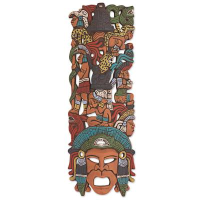 Ceramic mask, 'Prehispanic History' - Hand Painted Ceramic Mayan Mask from Mexico