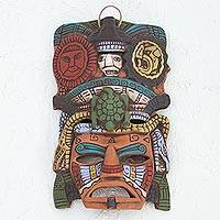Ceramic mask, 'Sun and Moon Tortoise' - Hand Painted Ceramic Mayan Turtle Mask from Mexico