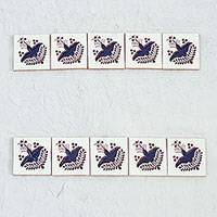 Ceramic tiles, 'Blue Dove' - Ten Hand-Painted Ceramic Tiles with Birds from Mexico