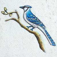Steel wall art, 'Happy Blue Jay'