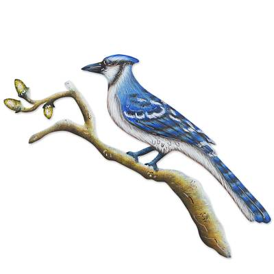 Steel wall art, 'Happy Blue Jay' - Hand Made Steel Blue Jay Wall Art Sculpture from Mexico
