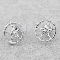 Rhodium plated sterling silver stud earrings, 'Star Faces' - Rhodium Plated Sterling Silver Star Stud Earrings Mexico