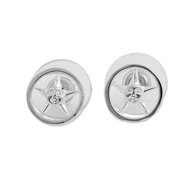 Rhodium Plated Sterling Silver Star Stud Earrings Mexico