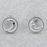 Rhodium plated sterling silver stud earrings, 'Crescent Moon Faces' - Rhodium Plated Sterling Silver Moon Stud Earrings Mexico
