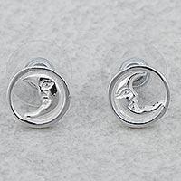Rhodium plated sterling silver stud earrings, 'Crescent Moon Faces' - Rhodium Plated Sterling Silver Moon Stud Earrings Mexico
