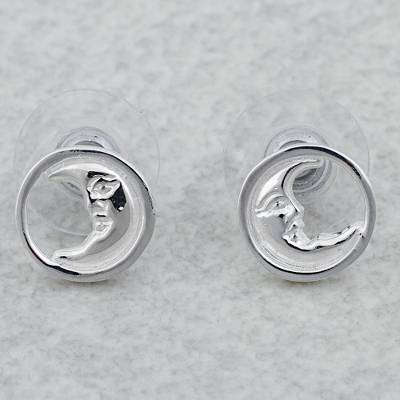 04329bb6d UNICEF Market | Rhodium Plated Sterling Silver Moon Stud Earrings Mexico - Crescent  Moon Faces