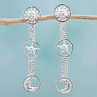 Rhodium plated sterling silver dangle earrings, 'Sun Star and Moon' - Rhodium Plated Sterling Silver Dangle Earrings Sun Mexico