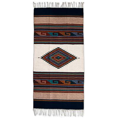 Wool area rug, 'Antique White Diamond' (5 x 2.5 feet) - Hand Woven Multicolored Geometric Wool Area Rug from Mexico