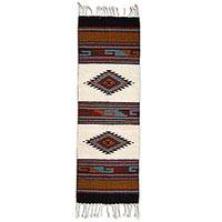 Wool runner rug, 'Two Diamond Lane' (4 x 1.5 feet) - Geometric Antique White Multicolored Wool Runner Rug Mexico