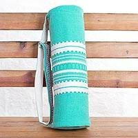 Cotton yoga mat bag, 'Yoga Time' - Hand Woven Cotton Yoga Mat Bag in Pastel Green and White