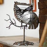 Recycled auto part sculpture, 'Owl on a Branch'