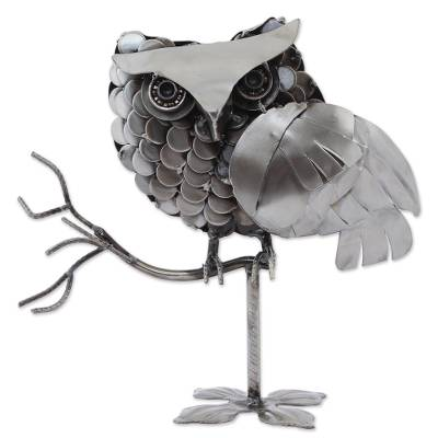 Recycled auto part sculpture, 'Owl on a Branch' - Recycled Auto Part Sculpture of an Owl from Mexico