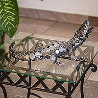 Recycled auto part sculpture, 'Hungry Crocodile' - Upcycled Auto Part Sculpture of a Crocodile from Mexico