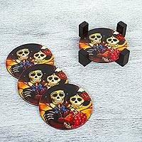 Decoupage wood coasters, 'Catrin and Catrina' - Wood Coasters Day of the Dead (Set of 4) from Mexico