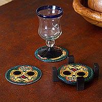Decoupage wood coasters, 'Loving Skull' (set of 4)