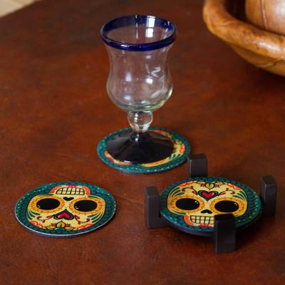 Decoupage wood coasters, 'Loving Skull' (set of 4) - 4 Day of the Dead Smiling Skulls Decoupage Wood Coaster Set