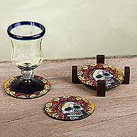 Decoupage wood coasters, 'Skeleton Bride' (set of 4)