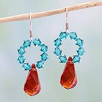 Crystal dangle earrings, 'Sparkling Agave' - Swarovsky Crystal Dangle Earrings Red and Blue from Mexico