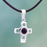 Onyx cross necklace, 'Holy Splendor' - Onyx Sterling Silver Cross Pendant Necklace from Mexico
