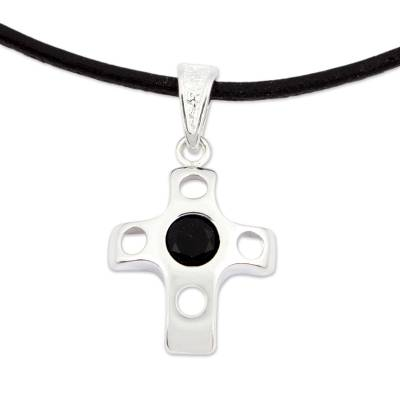 Onyx Sterling Silver Cross Pendant Necklace from Mexico