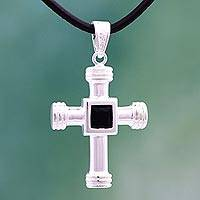 Onyx pendant necklace, 'Heart of the Cross' - Sterling Silver and Onyx Cross Pendant Necklace from Mexico