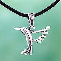 Sterling silver and leather pendant necklace, 'Hovering Hummingbird' - Sterling Silver Leather Hummingbird Pendant Necklace Mexico