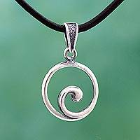 Sterling silver and leather pendant necklace, 'Spiraling' - Sterling Silver Leather Swirl Pendant Necklace from Mexico