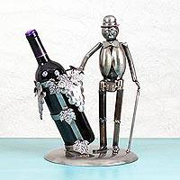 Recycled auto parts bottle holder, 'Chaplin' - Recycled Auto Parts Bottle Holder from Mexico