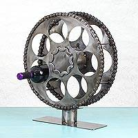 Upcycled auto parts wine rack, 'Film Reel' - Recycled Auto Parts Wine Rack from Mexico