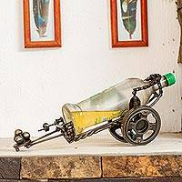 Recycled auto parts bottle holder, 'Cannon' - Recycled Metal Auto Parts Bottle Holder from Mexico