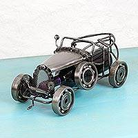 Recycled auto parts bottle holder, 'Vintage Car' - Handmade Recycled Auto Parts Bottle Holder from Mexico
