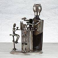 Upcycled auto parts bottle holder, 'Bartender' - Handmade Upcycled Auto Parts Bottle Holder from Mexico