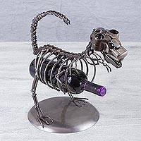 Recycled auto parts bottle holder, 'Dinosaur Bones' - Handmade Recycled Auto Parts Bottle Holder from Mexico