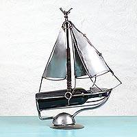 Recycled auto parts bottle holder, 'Sail Away' - Recycled Metal Auto Parts Sailboat Bottle Holder