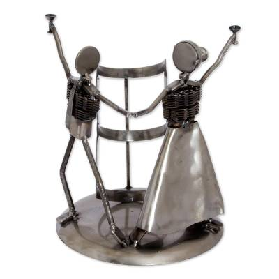 Recycled auto parts bottle holder, 'Happy Pair' - Handmade Recycled Auto Parts Bottle Holder from Mexico