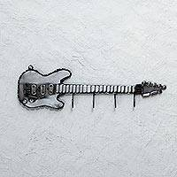 Recycled auto parts coat rack, 'Guitar Convenience' - Guitar Coat Rack from Recycled Auto Parts