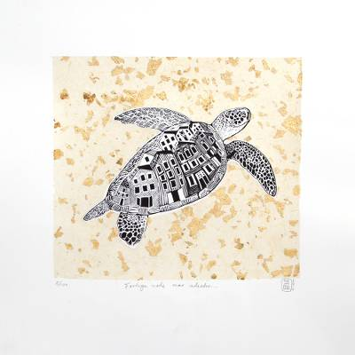'Turtle, Go to the Shore' - Signed Etched Print of a Sea Turtle from Mexico
