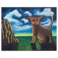 'Hiding Place' - Surrealist Painting of a Cat with a Door from Mexico