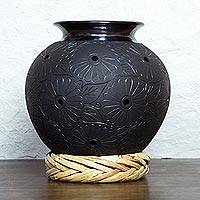 Ceramic vase, 'Oaxaca Flowers' (15in) - 15-inch Tall Hand Made Black Ceramic Floral Vase from Mexico