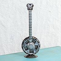 Recycled auto part sculpture, 'Countryside Banjo' - Recycled Auto Part Banjo Sculpture from Mexico