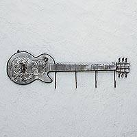 Recycled auto part coat rack, 'Helpful Guitar' - Recycled Auto Part Guitar Shaped Coat Rack from Mexico
