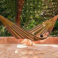 Hammock, 'Copper Mountain' (single) - Nylon Rope Hammock in Moss Green and Copper (Single) Mexico