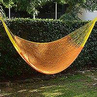 Hammock, 'Daffodil Dreams' (single) - Nylon Rope Hammock in Daffodil and Tangerine (Single) Mexico