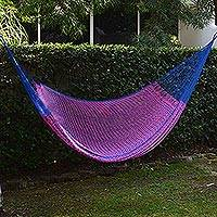 Hammock, 'Berry Blossom' (double) - Hand Woven Pink and Blue Nylon Hammock from Mexico (Double)
