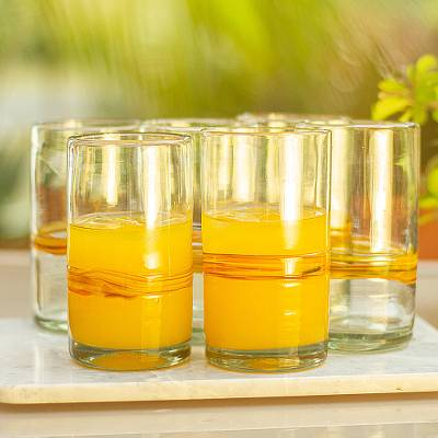 9b257a4795dd Set of 6 Blown Recycled Glass Tumblers with Orange Stripe - Ribbon ...