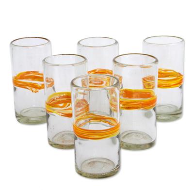 orange stripe glass tumblers