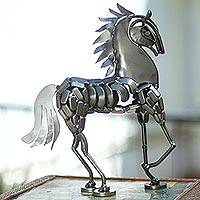 Recycled auto parts sculpture, 'Metallic Horse'