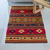 Wool rug, 'Geometric Flower' (2.5x5) - Multicolor Wool Rug with Geometric Pattern (2.5x5)