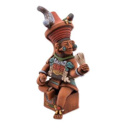Ceramic sculpture, 'Maya Governor of Uaxactun' - Original Signed Ceramic Sculpture of Antique Maya Governor