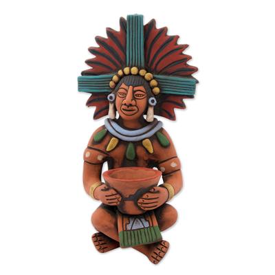 Ceramic sculpture, 'Maya with Pot' - Highly Detailed Original Ceramic Sculpture of a Maya Man